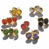 8MM Stippled Jewel Brads - Gold Edge - Choose Color