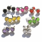 8MM Stippled Jewel Brads - Silver Edge - Choose Color