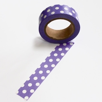 Dot Washi Tape - Puple/White