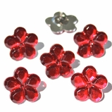 Flower Jewel Brads - Red
