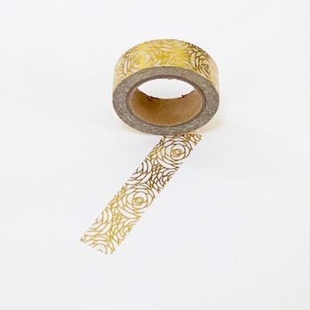 Foil Washi Tape - Gold Flower