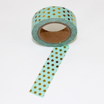 Foil Washi Tape - Green/ Gold Dots