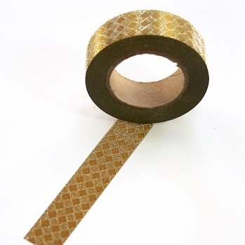 Glitter Washi Tape - Gold Diamonds