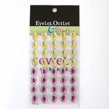 *Oval Jewels - Yellow/Pink
