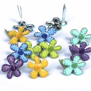 Mini Stitched Flower Brads - Bright