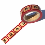 Red Number Washi Tape