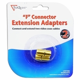 """(2-Pack) TriQuest 5208 Coaxial Cable """"F"""" Connector Extension Adapters to Connect and Extend Coax Cables - Retail Package"""