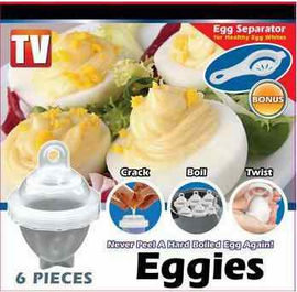 Eggies Deluxe Plastic Egg Cooker Set - Never Peel a Hard-Boiled Egg Again!