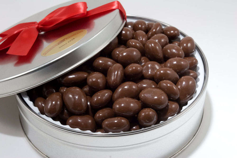 Milk Chocolate Covered Almonds Gift Tin from Nuts in Bulk - Nut Tins