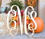 "3 Letter 18"" Wood Monogram - Large Unfinished Monogram"