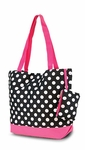 Black & White Polka Dot Monogrammed Tote Bag - Fuchsia Trim