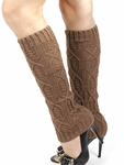 Cable Knit Leg Warmers, Boot Socks - Honey Brown