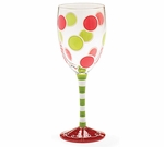 Christmas Dots Wine Glass - Comes With Free Gift Box!