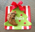 """Cookies  For Santa""  Ceramic Plate With Bow"