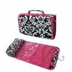 Damask Print Personalized Toiletry Bag - Fuchsia Trim