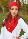 Designer Knit Equestrian Scarf and Hat Set - RED