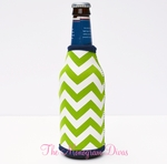 Glitter Monogram Neoprene Bottle Coozie - Green Chevron