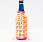 Glitter Monogram Neoprene Bottle Coozie - Orange Circles