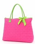 Large Quilted Overnight  Monogrammed Tote Bag- Fuchsia & Lime Accents