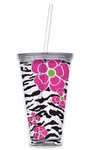 Leopard With Pink Blooms 24oz Double Wall Tumbler with Straw - Personalized Free!