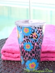 Leopard with Turquoise Blooms 24oz Double Wall Tumbler with Straw - Personalized Free!