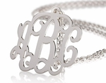 "Monogram Necklace 1.5"" - Sterling Silver Monogram Jewelry"