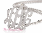 "Monogram Necklace 2"" - Sterling Silver Monogram Jewelry"