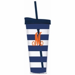 Monogrammed Acrylic Tumbler with Straw - Navy Stripes