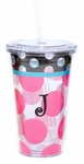 Monogrammed Acrylic Tumbler with Straw - Pink Polka Dots