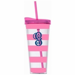Monogrammed Acrylic Tumbler with Straw - Pink Stripes