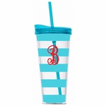 Monogrammed Acrylic Tumbler with Straw - Turquoise Stripes
