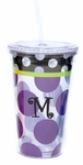 Monogrammed Acrylic Tumblers with Straw - Purple Polka Dots