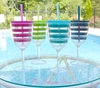 Monogrammed Acrylic Wine Glass in Preppy Turquoise Stripes