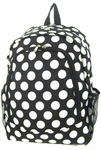 Monogrammed Backpack - Black & White Polka Dots