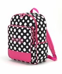 Monogrammed Backpack - Black & White Polka Dots - On Sale This Week Only