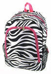 Monogrammed Backpack - Zebra Print With Hot Pink Trim