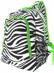 Monogrammed Backpack - Zebra Print With Lime Green Trim