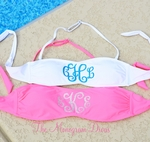 Monogrammed Bandeau Bathing Suit Top with Glitter Monogram