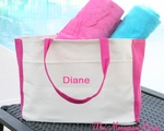 Monogrammed Beach Bag - Canvas Bag With Hot Pink Trim