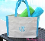 Monogrammed Beach Bag - Personalized Canvas Bag With Turquoise Trim