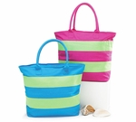 Monogrammed Beach Bags - Preppy Stripes- Personalized Free