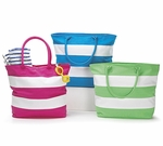 Monogrammed Beach Bags - Tropical Stripes