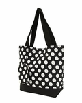 Monogrammed Beach & Pool Tote - Insulated - Black & White Polka Dots