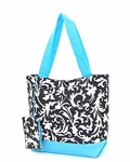 Monogrammed Insulated Beach & Pool Tote - Damask with Turquoise Trim