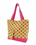 Monogrammed Beach & Pool Totes - Pink & Lime Dots