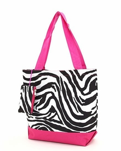 Monogrammed Insulated Beach & Pool Totes - Zebra Print with Pink Trim