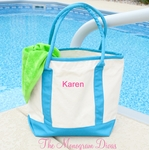 Monogrammed Beach Tote Bag - Canvas with Blue Handles