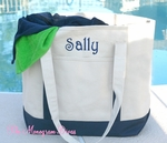 Monogrammed Beach Tote Bag - Navy