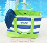 Monogrammed Beach Tote Bag - Preppy Lime & Navy Stripes