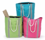 Monogrammed Beach Totes With Rope Handles - 3 Tropical Colors
